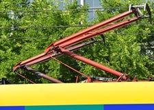 Pantograph einer Straßenbahn Stockfotos