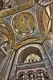Basilica Dome & Edicule. The Pantokrator mosaic in the Basilica of the Holy Sepulchre and the top of the Edicule seen through the arches. The old city of Royalty Free Stock Photo