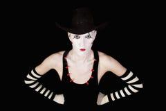 pantomim för makeup för skådespelarebakgrundsblack arkivfoto