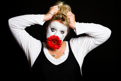Pantomima de la mujer Fotografía de archivo libre de regalías