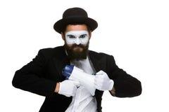 Pantomime als Geschäftsmann mit einem Megaphon Stockfotografie