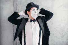 Pantomime artist with makeup mask, april fools day Royalty Free Stock Image