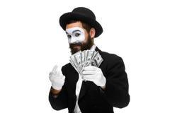 Pantomime comme argent leurrant d'homme d'affaires Photographie stock libre de droits