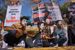 Pantomime. Deaf persons doing pantomime performances during the commemoration of the deaf in the city of Solo, Central Java, Indonesia royalty free stock photography