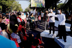 Pantomime. Deaf persons doing pantomime performances during the commemoration of the deaf in the city of Solo, Central Java, Indonesia stock image