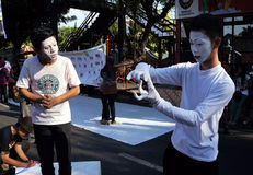 Pantomime. Deaf persons doing pantomime performances during the commemoration of the deaf in the city of Solo, Central Java, Indonesia stock images