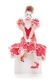 Pantomime im roten Kleid Stockfoto