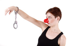 Pantomime mit roter Wekzeugspritze Lizenzfreies Stockbild