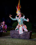 The pantomime  Ramayana at the outdoor theater. Royalty Free Stock Images