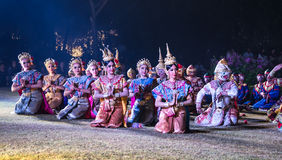 The pantomime  Ramayana at the outdoor theater. Stock Image