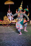 The pantomime  Ramayana at the outdoor theater. Royalty Free Stock Photography