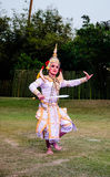 The pantomime  Ramayana at the outdoor theater. Royalty Free Stock Photos