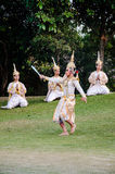 The pantomime  Ramayana at the outdoor theater. Royalty Free Stock Photo
