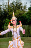 The pantomime  Ramayana at the outdoor theater. Royalty Free Stock Image