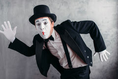 Pantomime theater artist posing, mimic male person Stock Image