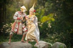 Pantomimeleistungen in Thailand stockfoto