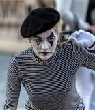 Pantomimemeisje met geschilderd gezicht Royalty-vrije Stock Foto