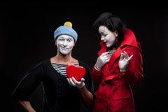 Pantomimen in der Liebe Stockbild