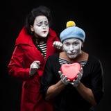 Pantomimen in der Liebe Lizenzfreie Stockfotos