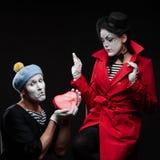 Pantomimen in der Liebe Lizenzfreie Stockfotografie