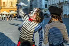 Pantomimepaar met geschilderd gezicht Stock Afbeelding