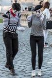 Pantomimepaar met geschilderd gezicht Stock Fotografie