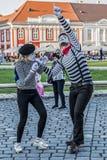 Pantomimepaar met geschilderd gezicht Stock Foto's