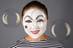 Pantomimeportrait mit Luftblasen Lizenzfreie Stockfotos