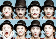 Pantomimes emotions. Photo collage of different human emotions made by pantomime with painted face on the blue background royalty free stock photo
