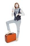 Pantomimeschauspieler mit orange Koffer erinnerte sich an etwas lizenzfreie stockbilder