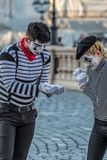 Pantomimy para z malującą twarzą Obraz Royalty Free