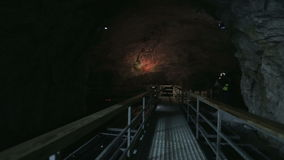 The panton way on the underground lake in the marble cave stock video footage