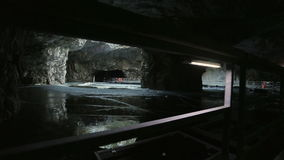 The panton way on the underground lake in the marble cave stock video