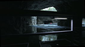 The panton way on the underground lake in the marble cave stock footage