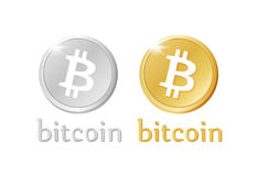 2017 pantone. Bitcoin money stylized gold and silver icons. Crypto-currency internet or electronic coin. Isolated vector sign for business Stock Images