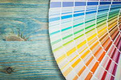 Pantone fan on wooden board construction concept Royalty Free Stock Images