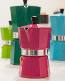 Pantone moka pots on display at HOMI, home international show in Milan, Italy Stock Photos