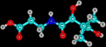 Pantothenic molekylär struktur för syra (vitaminet B5) på svart bakgrund Fotografering för Bildbyråer