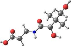 Pantothenic molekylär struktur för syra (vitaminet B5) på vit bakgrund Royaltyfri Foto
