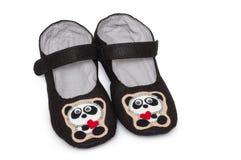 Pantoufles à la maison image de pandas Photographie stock libre de droits