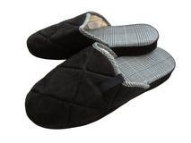 Pantoufles de laine - noires photo stock