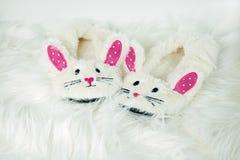Pantoufles de lapin sur la fourrure blanche Photo stock