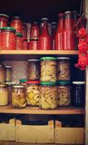 Pantry with jam in the autumn. Royalty Free Stock Images