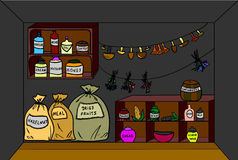 Pantry. Vector illustration. Cartoon pantry with food and drinks. Vector illustration Royalty Free Stock Photo