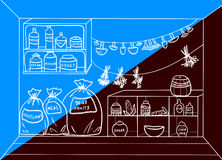 Pantry. Vector illustration. Cartoon pantry with food and drinks. Vector illustration Stock Images