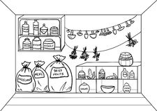 Pantry. Vector illustration. Cartoon pantry with food and drinks. Vector illustration Royalty Free Stock Image