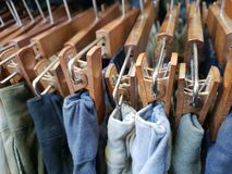 Pants display hangers stock images