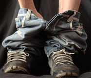 Pants down. Shot of sneakers with pants down Royalty Free Stock Photo