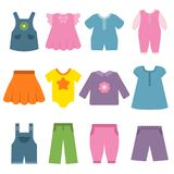 Pants, dresses and other different clothes for kids and babies royalty free illustration