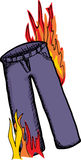 Pants On Fire. Long pair of pants with flames on them Royalty Free Stock Images